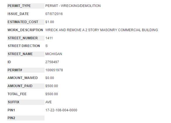 1411 South Michigan demo permit