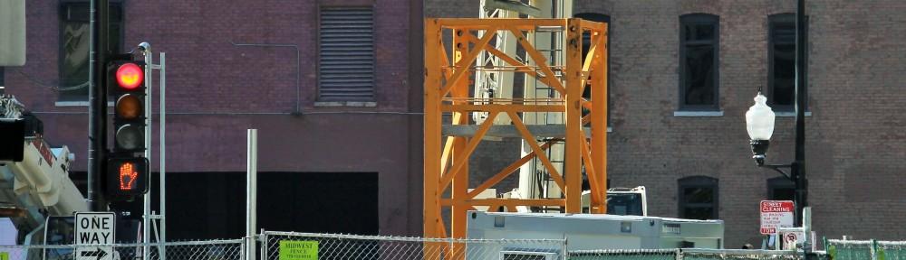 625 West Adams tower crane banner