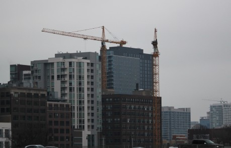 The Ancora and Alta Roosevelt tower cranes, off in the distance.