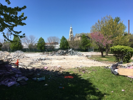 Rubble, with St. Ignatius College Prep in the background.