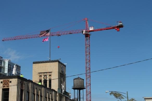 American Flag, Tower Crane, Chicago Water Tank