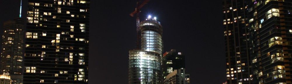 465 North Park topping out at night