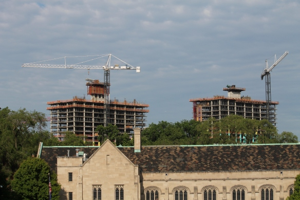 The Lincoln Common tower cranes